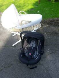 Moses basket and car seat