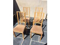 Four Re-Covered IKEA Borje Chairs & a Pine Table