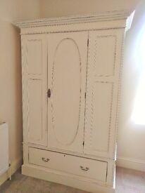 Large Antique White Wardrobe
