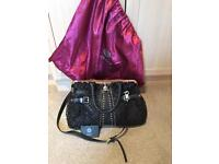 Versace Black & Gold Studded Leather Handbag