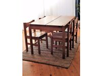 Original Vintage 1960's Finnish Solid Pine Dining Table and Four Chairs