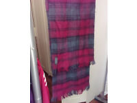 """53.5"""" wool men's scarf, red and green stripes with black lines."""