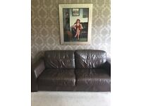 Brown Leather Suite (2 sofas)