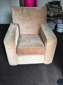 Single Seater Sofa Beige Fabric
