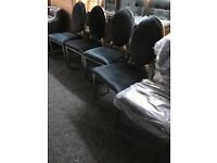 Six brand new black velour chairs-£360