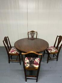 BROWN WOODEN DINING TABLE SET with 4 chairs