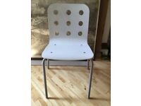 White wooden office chairs £14 each /4 for £45 -stackable-