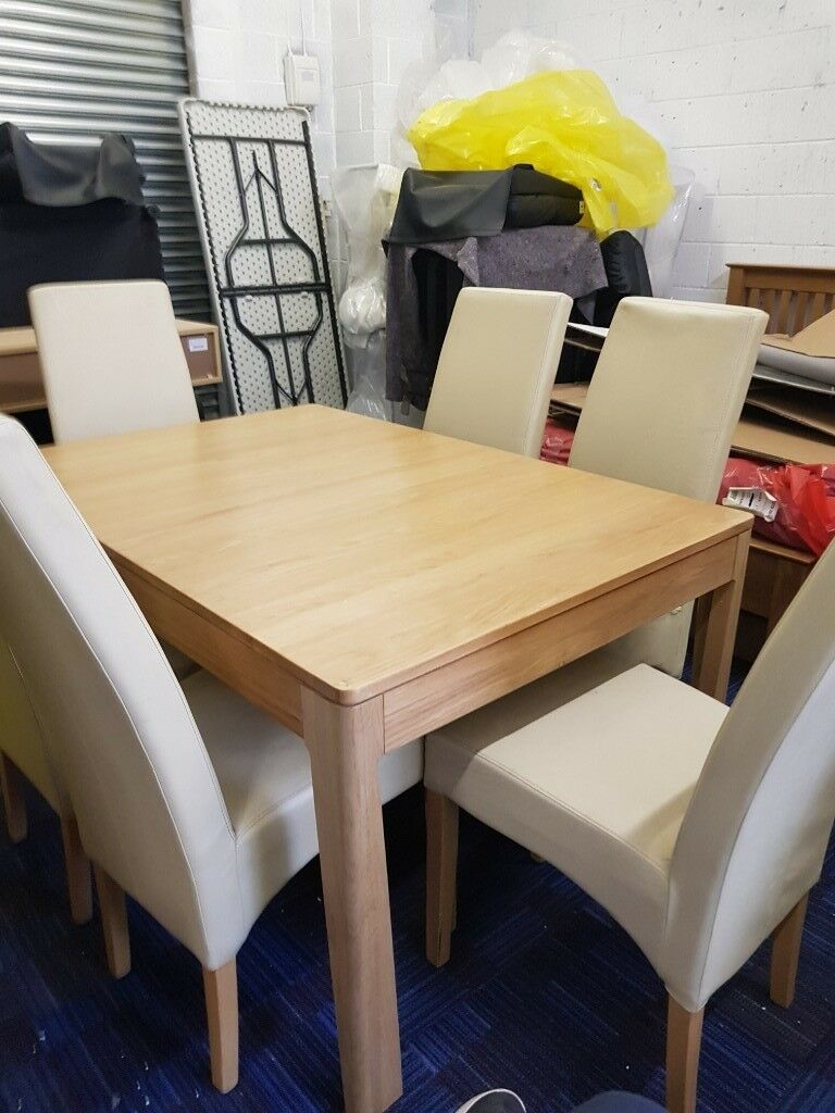 Oak Dining Table And 6 Leather Chairs Damaged Oldham