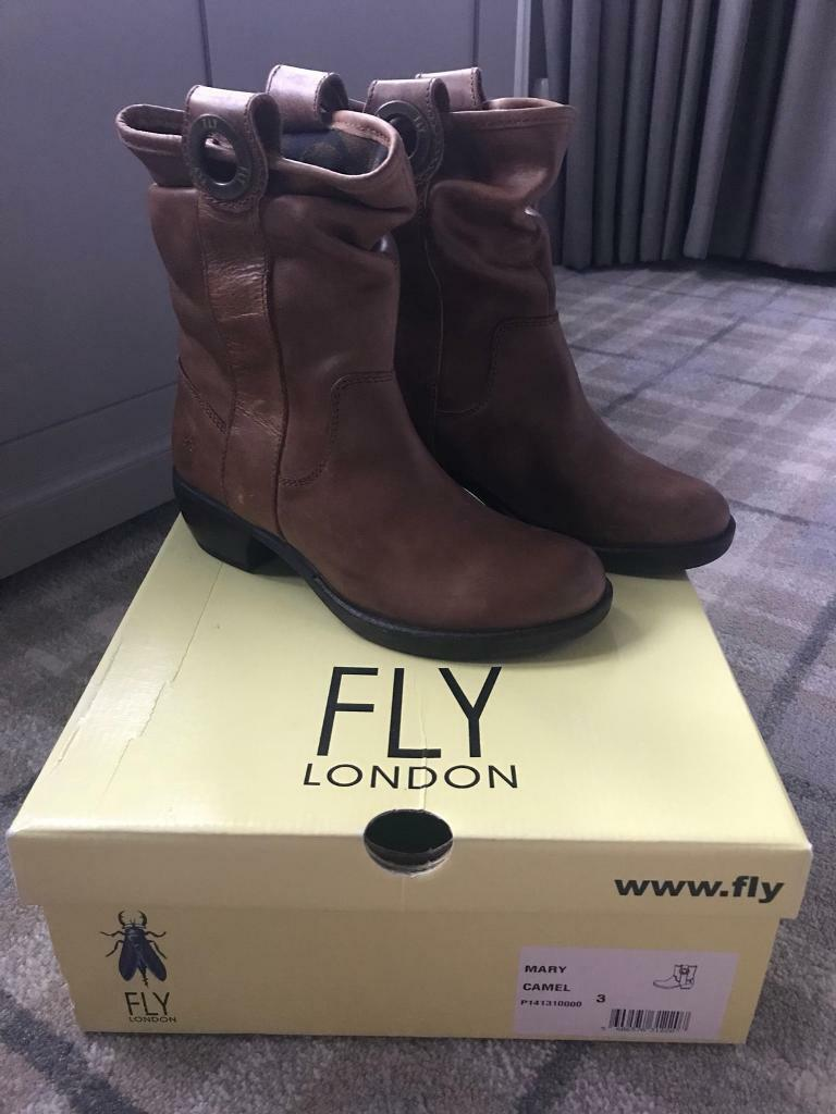 Fly brown leather boots size 3