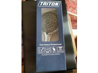Brand new, boxed Triton chrome showerhead
