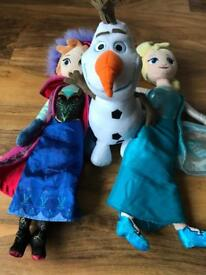 Frozen soft toys bundle, Anna Elsa and Olaf