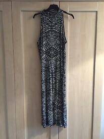 Jane Norman stretchy Midi size 14 black and white abstract dress