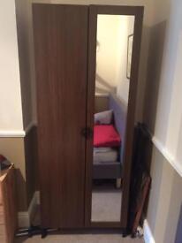 Dark brown wardrobe with full length mirror