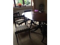 Dining room table and chairs