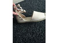 Nude ankle strap espadrilles , sizes availab7 and 8