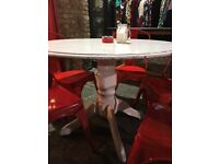 Large 105 cm Shabby Chic wooden tables round white X2