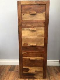 Rosewood tall boy chest of 4 drawers