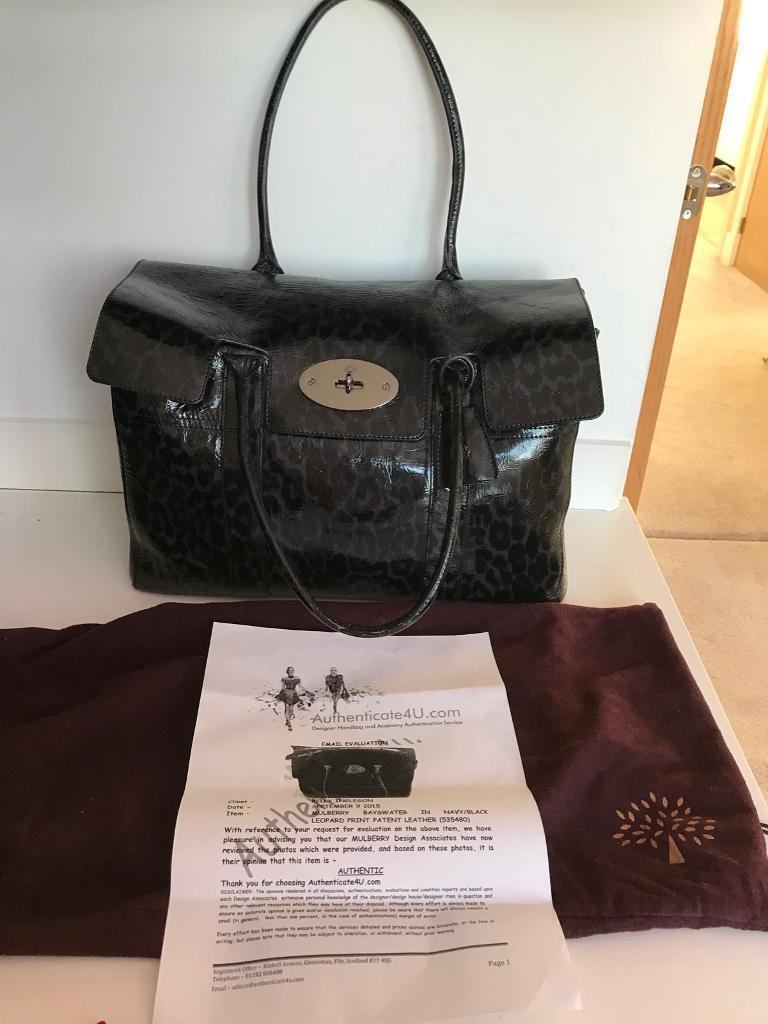 06fa5e35eb Mulberry Bayswater in Navy and Black leopard print