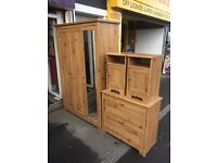 triple wardrobe with draws and bedside