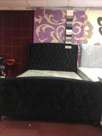 King size velvet bed with mattress