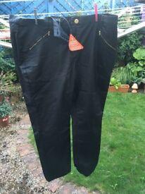 Ladies wax style black trousers