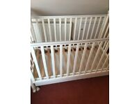 Italian made oak wood white colour cot bed with removal bottom drawer & fire resistant mattress for sale  Milton Keynes, Buckinghamshire