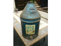 Vintage Esso Blue Paraffin Metal Conical Top Storage Container with Tap - Used