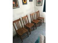 4 solid wood chairs - high quality vintage dining chairs