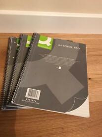 3 brand new A4 spiral bound 80 page note pads