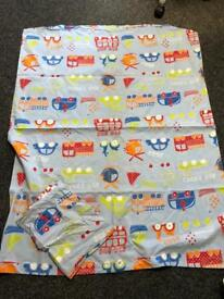 Little boy's curtains and duvet and pillow case