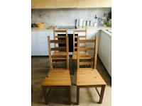 Ikea KAUSTBY 4x Dining Chairs Solid Pine + chair pads