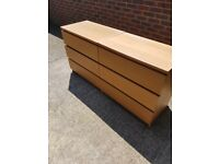 Ikea Malm 3 drawer chest unit and 2 drawer bedside unit in oak finish