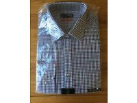"BRAND NEW Thomas Nash Debenhams men's shirt l-s 17"" cotton twill checked"