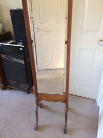 Old solid wood free standing full length mirror