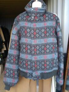 Woolrich Ladies Wool Bomber Jacket Made in USA L XL Dolman Sleeves Padded Lining Warm Navaho Indian Print High Neck