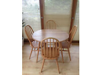 Ercol vintage oval dining table and x4 Ercol-style dining chairs, British mid-century design classic