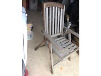 Solid Wood High Back Reclining Garden Chairs x 8 - folding flat