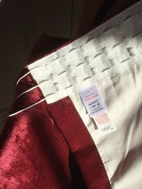 Marks & Spencer dark red chenille curtains
