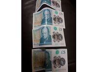 'AA' 5 Pound Note (4x)