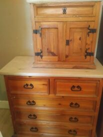 2 x shabby chic (chest of drawers and cupboard)