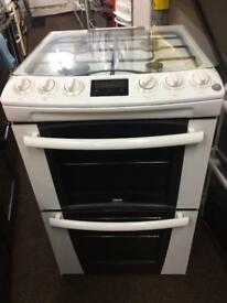 White zanussi 55cm gas cooker grill & double ovens good condition with guarantee bargain