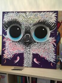 New Ostrich painting on large canvas