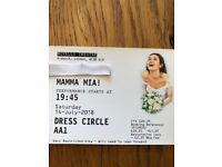 Mamma Mia Tickets x2 Sat 14th July. Seats are AA1 AA2 Dress Circle Side of stage.Novello Theatre