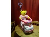 LOVELY NEW CONDITION,PINK PUSH ALONG TODDLER CAR WITH PARENT HANDLE