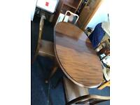 1940/50 oval shape extending dinner table and 4 matching chairs