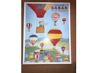 Large Babar et les ballons poster in a white frame (Babar the elephant)