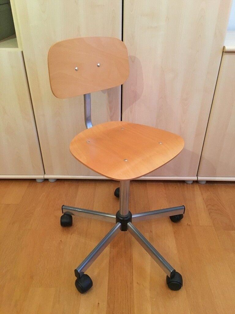 Bedroom, Study, Desk Office chair Kid's Children's Boy's Girls, 5 wheel, wooden seat, wipe clean