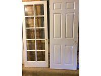 White painted internal doors (6) - 1 Solid, 1 Glazed Pair (Rebated), 3 Glazed