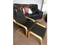 Ikea Poang with footstool - chocolate brown