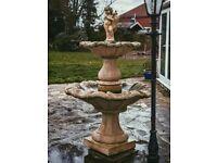 Two-Tier Ornamental Garden Fountain with Cherub